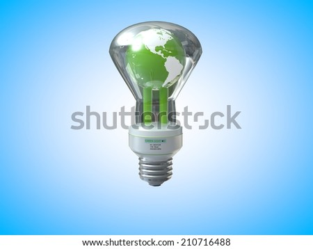 3D computer rendered illustration earth light bulb with blue background