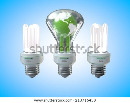 3D computer rendered illustration eath three light bulb with blue background