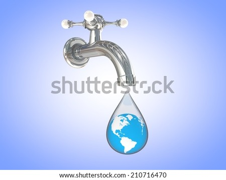 3D computer rendered illustration faucet dripping with earth in and blue background - stock photo