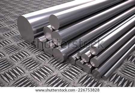 3D computer rendered illustration of round steel profile   - stock photo