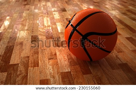 3D computer rendered illustration the basketball on wood floor - stock photo
