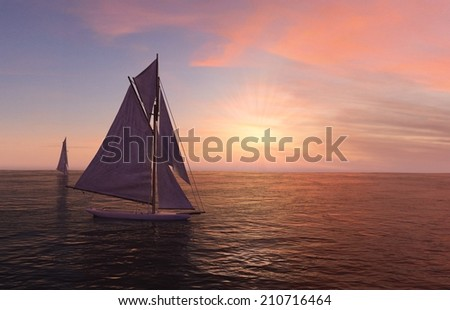 3D computer rendered illustration two sailboats on the open sea