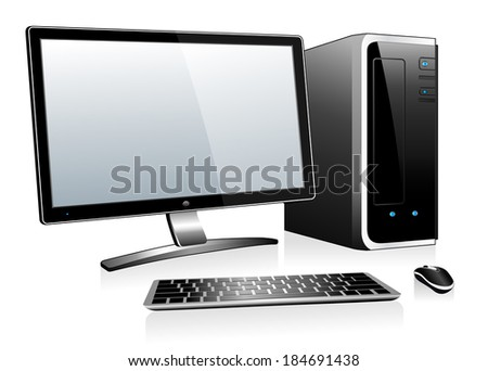 3D Computer with Monitor Keyboard and Mouse - Raster Version