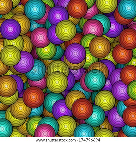 3d concentric circle pattern in multiple color - stock photo