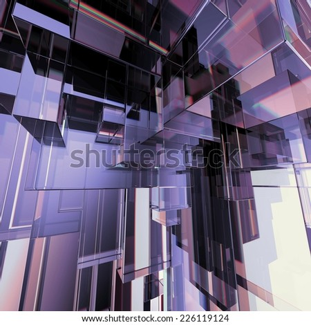 3d concept design, abstract purple geometric background, architectural glass construction - stock photo