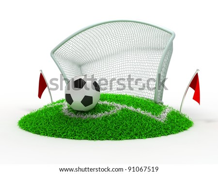 3D Concept Football in Gate on White Background
