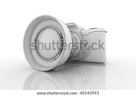 3d concept Illustration of a DSLR Camera on a reflective surface - stock photo