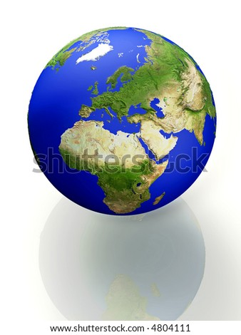 3d concept illustration of Earth white background