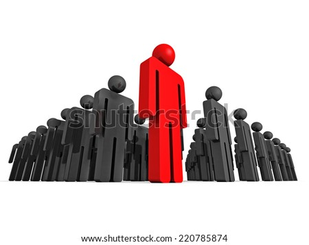 3d concept leader of big people group. teamwork 3d render illustration - stock photo