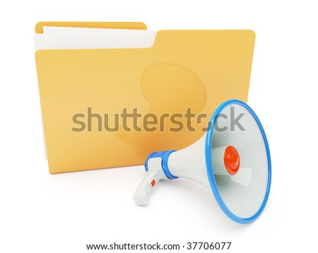 3d Concept - Megaphone and Folder isolated on white background