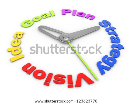 3d Concept of a deadline: vision, idea, plan, goal, strategy. 3d render - stock photo