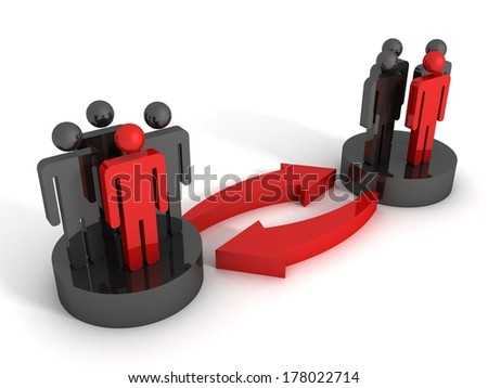 3d concept of interaction of different groups of people - stock photo