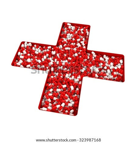 3D concept of medicine cross from white pills - stock photo