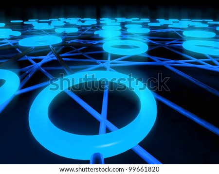 3d concept of network, glowing circles - stock photo