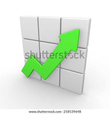 3d concept of rising graph - stock photo