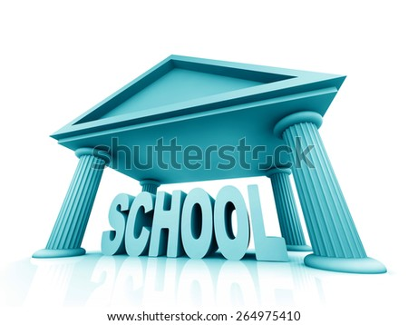 3d concept of school isolated on white - stock photo