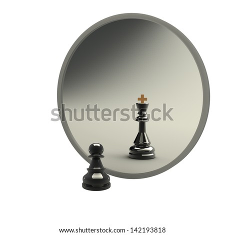 3d concept, reflected in the mirror of a pawn. white background - stock photo