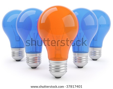 3d Concept With Lamps isolated on white background