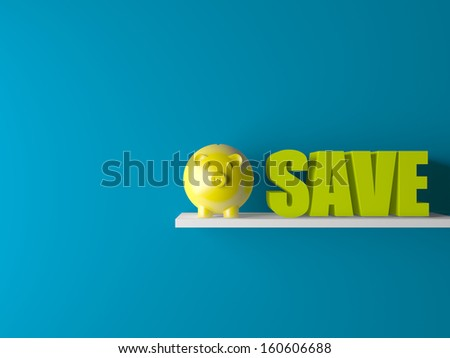 3d conceptually showing saving with piggy bank on wooden base in room - stock photo