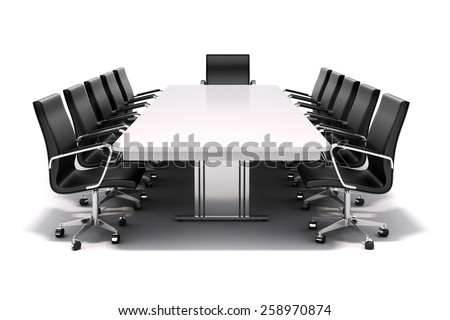 3d conference table and chairs on white background