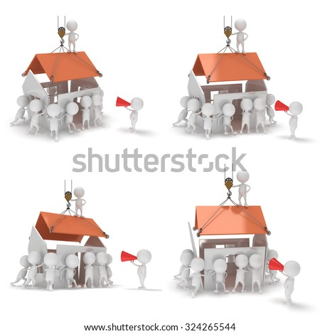 3D construction guys building a house. 3D render isolated on white background. - stock photo