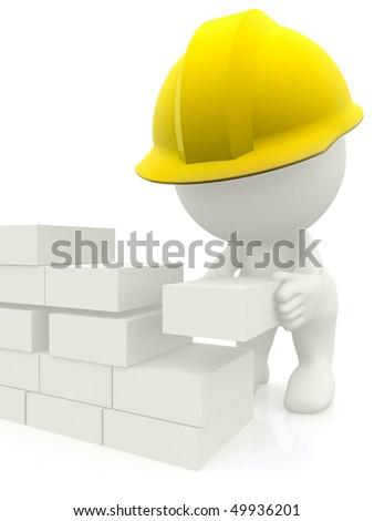 3D construction worker building a brick wall - isolated - stock photo