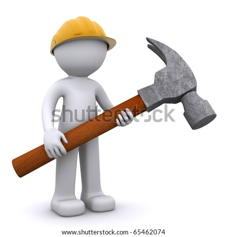 3D construction worker with hammer. Isolated - stock photo