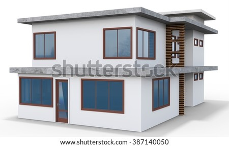3d contemporary house on a white background - stock photo