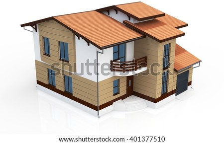 3d contemporary house on a white background 3D illustration - stock photo