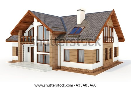 3d contemporary house, villa on a white background 3D illustration
