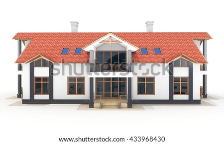 3d contemporary house, villa on a white background 3D illustration - stock photo