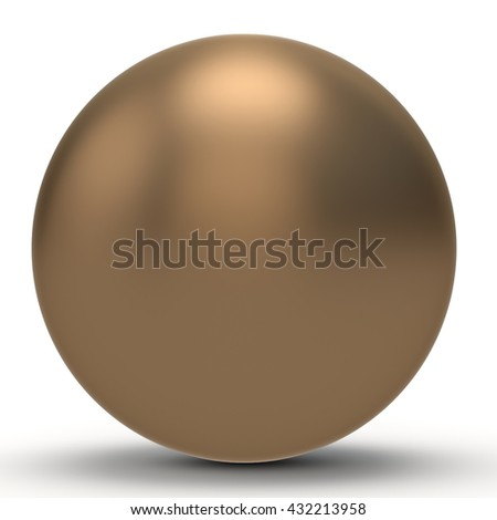 3d copper  sphere on white background 3D illustration - stock photo