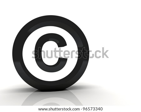 3d Copyright symbol black - stock photo