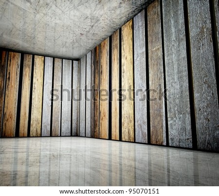 3d corner of old grunge wooden in interior - stock photo