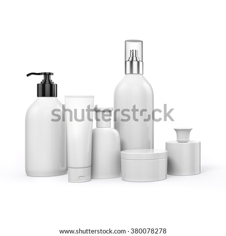 3d cosmetics pack on white background - stock photo