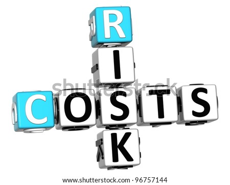 3D Costs Risk Crossword cube words on white background - stock photo