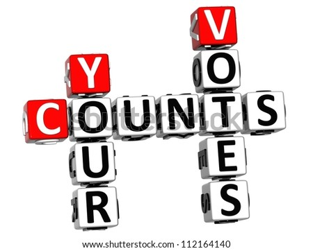 3D Counts Your Votes Crossword on white background - stock photo