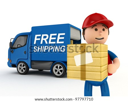 "3D Courier Man with ""Free Shipping"" Written Truck - isolated - stock photo"