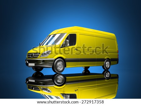 3d courier service delivery truck icon with blank sides ready for custom text and logos - stock photo