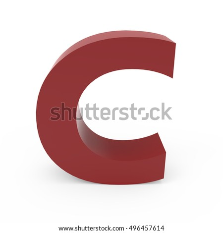 3d Cramoisi font C, 3D rendering graphic isolated white background