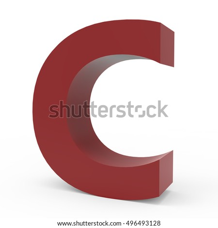 3d Cramoisi right leaning font C, 3D rendering graphic isolated white background
