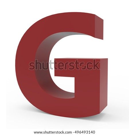 3d Cramoisi right leaning font G, 3D rendering graphic isolated white background