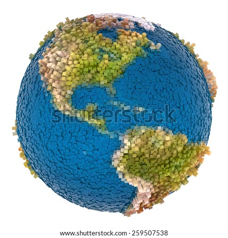 3d creative blocks abstract earth - stock photo