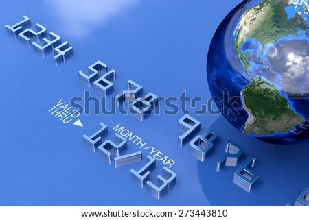 3D. Credit Card, E-commerce, Globe. Elements of this image furnished by NASA. - stock photo
