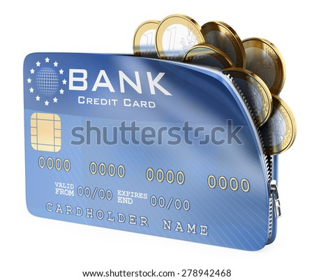 3D Credit card full of euro coins. Isolated white background.  - stock photo