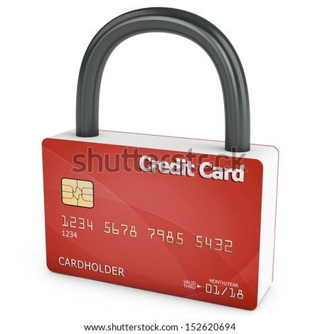 3d credit card with security lock on white background