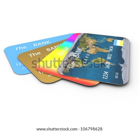 3d Credit cards - stock photo