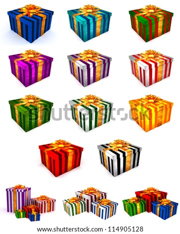 3D Cristmas gifts box on the white mega pack - stock photo