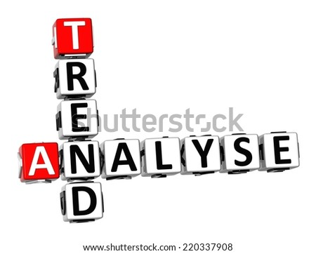 3D Crossword Analyse Trend on white background - stock photo