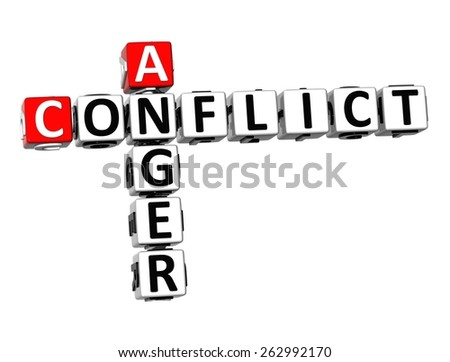 3D Crossword Anger Conflict on white background - stock photo
